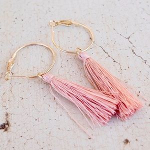 3 for $12 - Pink Tassels on Hoops